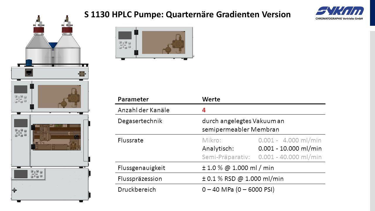 ParameterWerte Anzahl der Kanäle4 Degasertechnikdurch angelegtes Vakuum an semipermeabler Membran FlussrateMikro: 0.001 - 4.000 ml/min Analytisch: 0.0