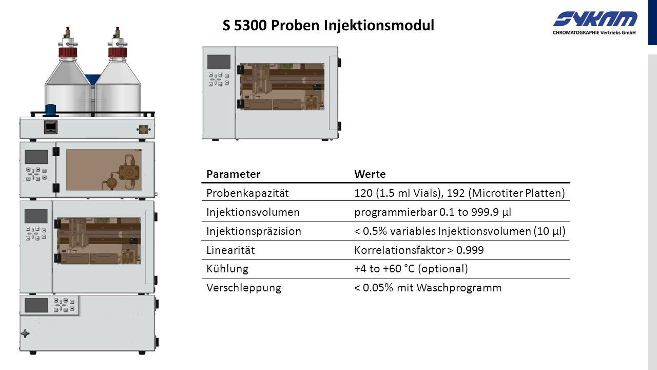 ParameterWerte Probenkapazität120 (1.5 ml Vials), 192 (Microtiter Platten) Injektionsvolumenprogrammierbar 0.1 to 999.9 µl Injektionspräzision< 0.5% v