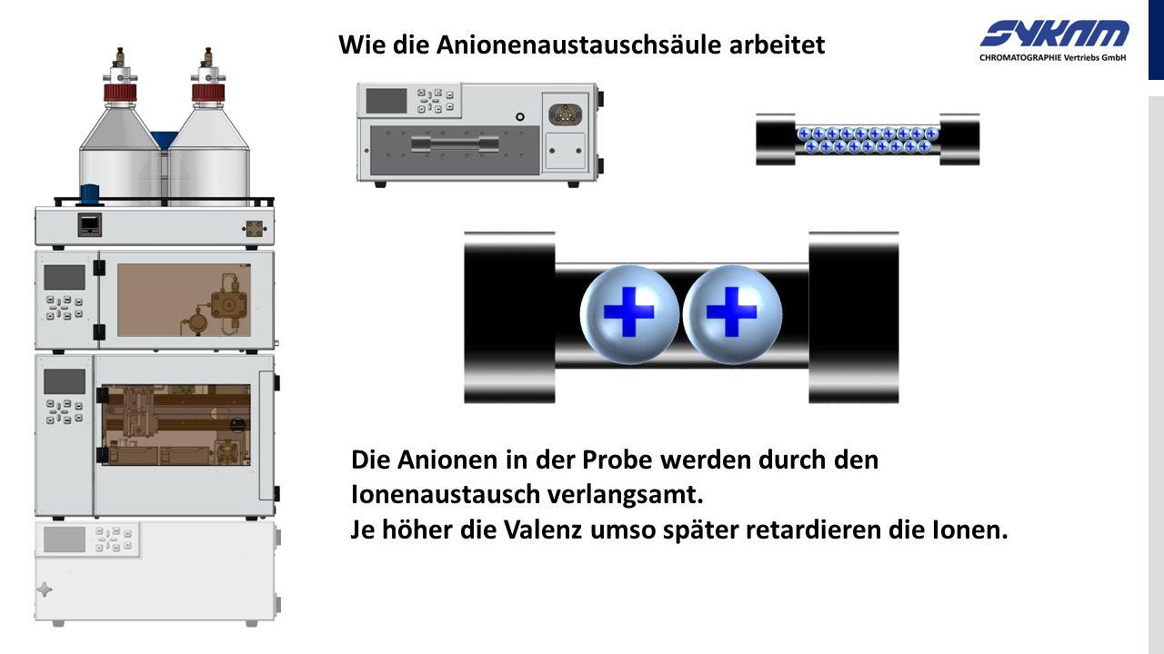 Wie die Anionenaustauschsäule arbeitet Die Anionen in der Probe werden durch den Ionenaustausch verlangsamt. Je höher die Valenz umso später retardier