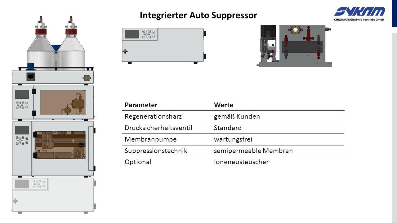 ParameterWerte Regenerationsharzgemäß Kunden DrucksicherheitsventilStandard Membranpumpewartungsfrei Suppressionstechnik semipermeable Membran Optiona