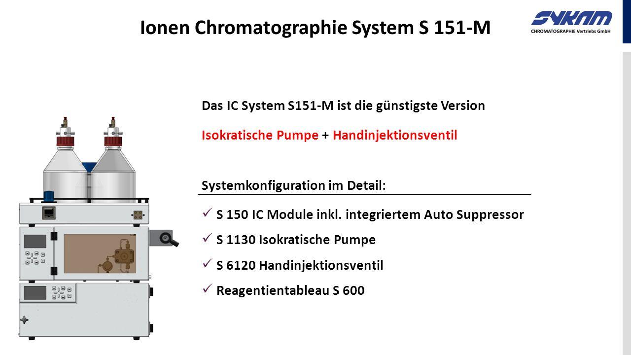 Ionen Chromatographie System S 151-M Das IC System S151-M ist die günstigste Version Isokratische Pumpe + Handinjektionsventil Systemkonfiguration im
