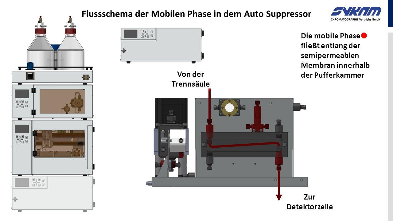 Flussschema der Mobilen Phase in dem Auto Suppressor Die mobile Phase fließt entlang der semipermeablen Membran innerhalb der Pufferkammer Von der Tre