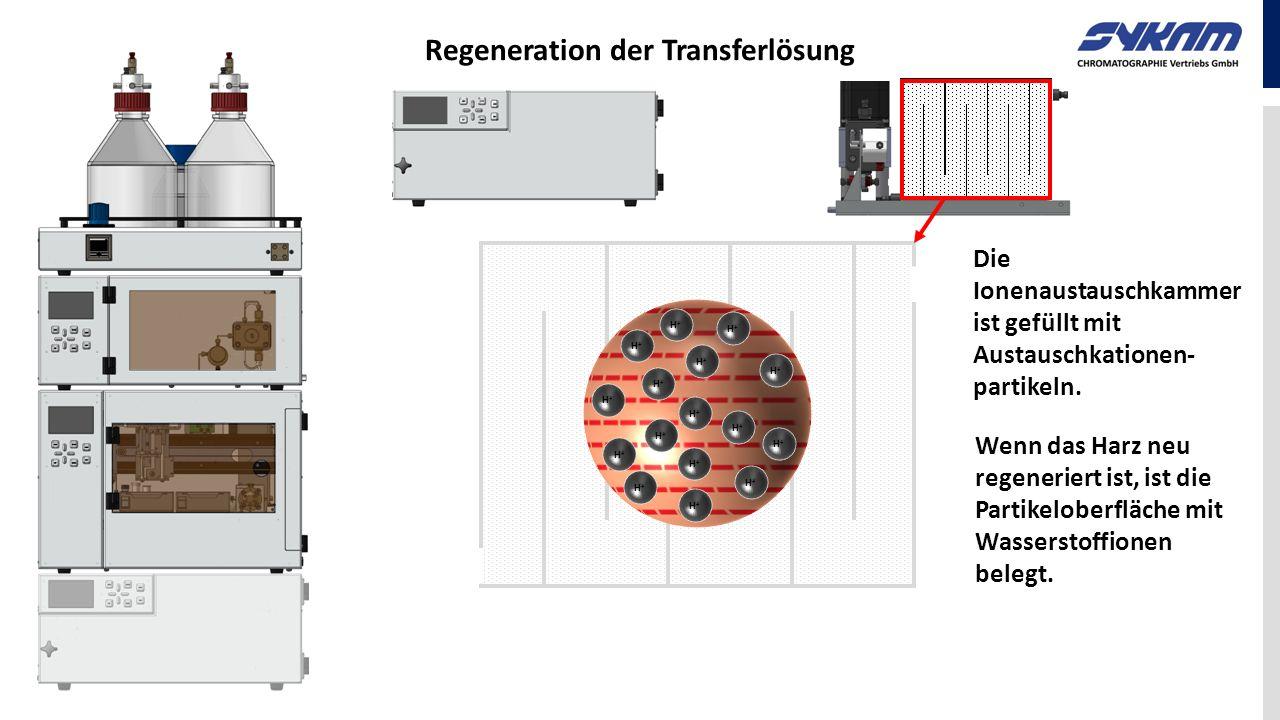 Regeneration der Transferlösung H+H+ H+H+ H+H+ H+H+ H+H+ H+H+ H+H+ H+H+ H+H+ H+H+ H+H+ H+H+ H+H+ H+H+ H+H+ H+H+ Die Ionenaustauschkammer ist gefüllt m
