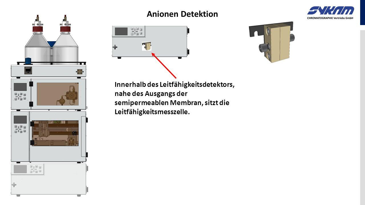 Anionen Detektion Innerhalb des Leitfähigkeitsdetektors, nahe des Ausgangs der semipermeablen Membran, sitzt die Leitfähigkeitsmesszelle.