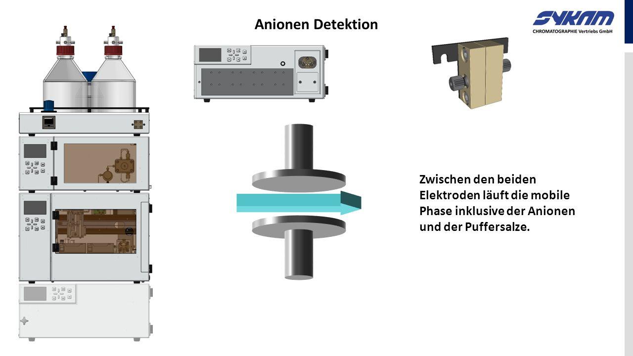 Zwischen den beiden Elektroden läuft die mobile Phase inklusive der Anionen und der Puffersalze.
