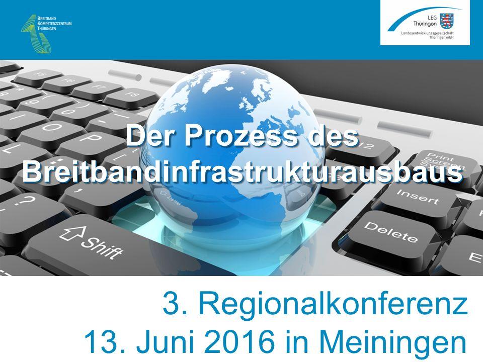 Veranstaltungshinweis Der Prozess des Breitbandinfrastrukturausbaus Farbe blau: Rot:0 Grün:137 Blau:193 3. Regionalkonferenz 13. Juni 2016 in Meininge