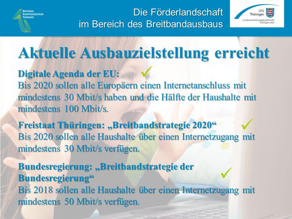 """Freistaat Thüringen: """"Breitbandstrategie 2020 Bis 2020 sollen alle Haushalte über einen Internetzugang mit mindestens 30 Mbit/s verfügen."""