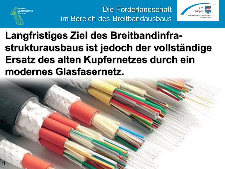 Langfristiges Ziel des Breitbandinfra- strukturausbaus ist jedoch der vollständige Ersatz des alten Kupfernetzes durch ein modernes Glasfasernetz.