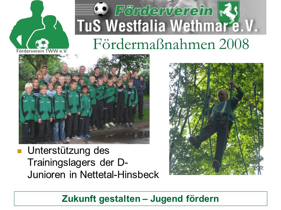 Zukunft gestalten – Jugend fördern Fördermaßnahmen 2008 Unterstützung des Trainingslagers der D- Junioren in Nettetal-Hinsbeck
