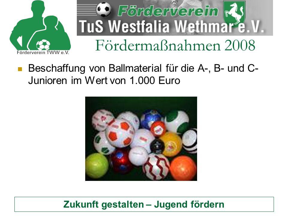 Zukunft gestalten – Jugend fördern Fördermaßnahmen 2008 Beschaffung von Ballmaterial für die A-, B- und C- Junioren im Wert von 1.000 Euro