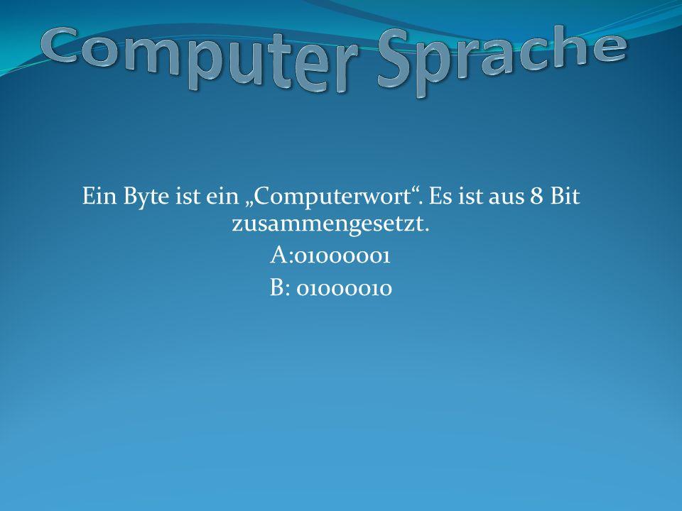 """Ein Byte ist ein """"Computerwort"""". Es ist aus 8 Bit zusammengesetzt. A:01000001 B: 01000010"""