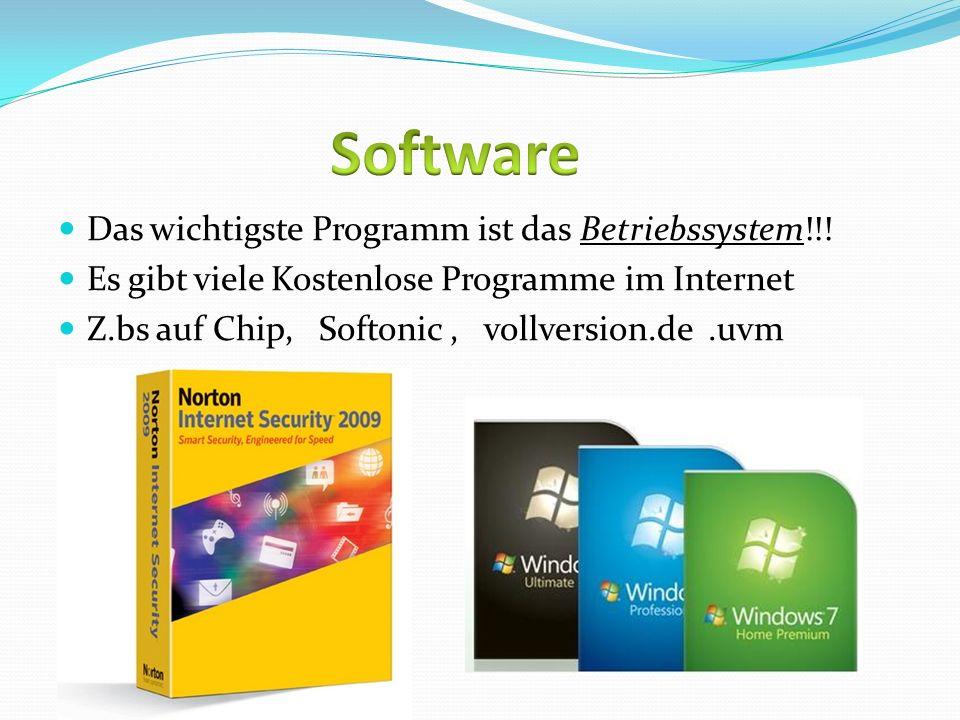 Das wichtigste Programm ist das Betriebssystem!!! Es gibt viele Kostenlose Programme im Internet Z.bs auf Chip, Softonic, vollversion.de.uvm