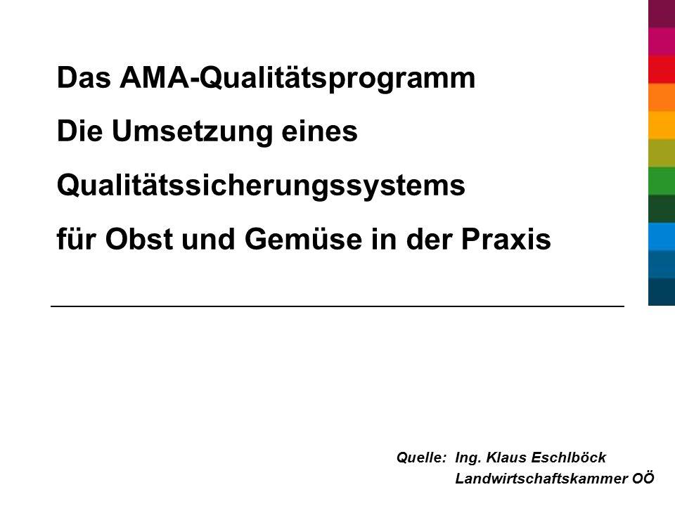 Das AMA-Qualitätsprogramm Die Umsetzung eines Qualitätssicherungssystems für Obst und Gemüse in der Praxis Quelle:Ing.