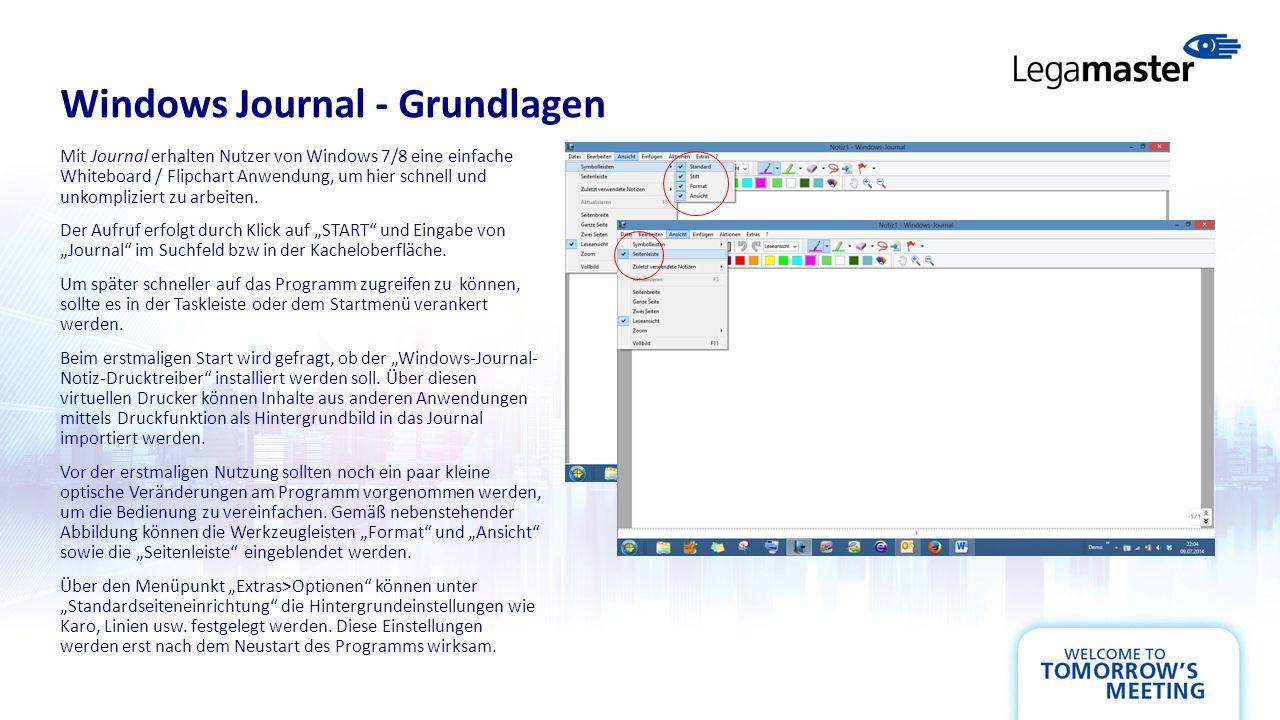 Windows Journal - Grundlagen Mit Journal erhalten Nutzer von Windows 7/8 eine einfache Whiteboard / Flipchart Anwendung, um hier schnell und unkompliziert zu arbeiten.