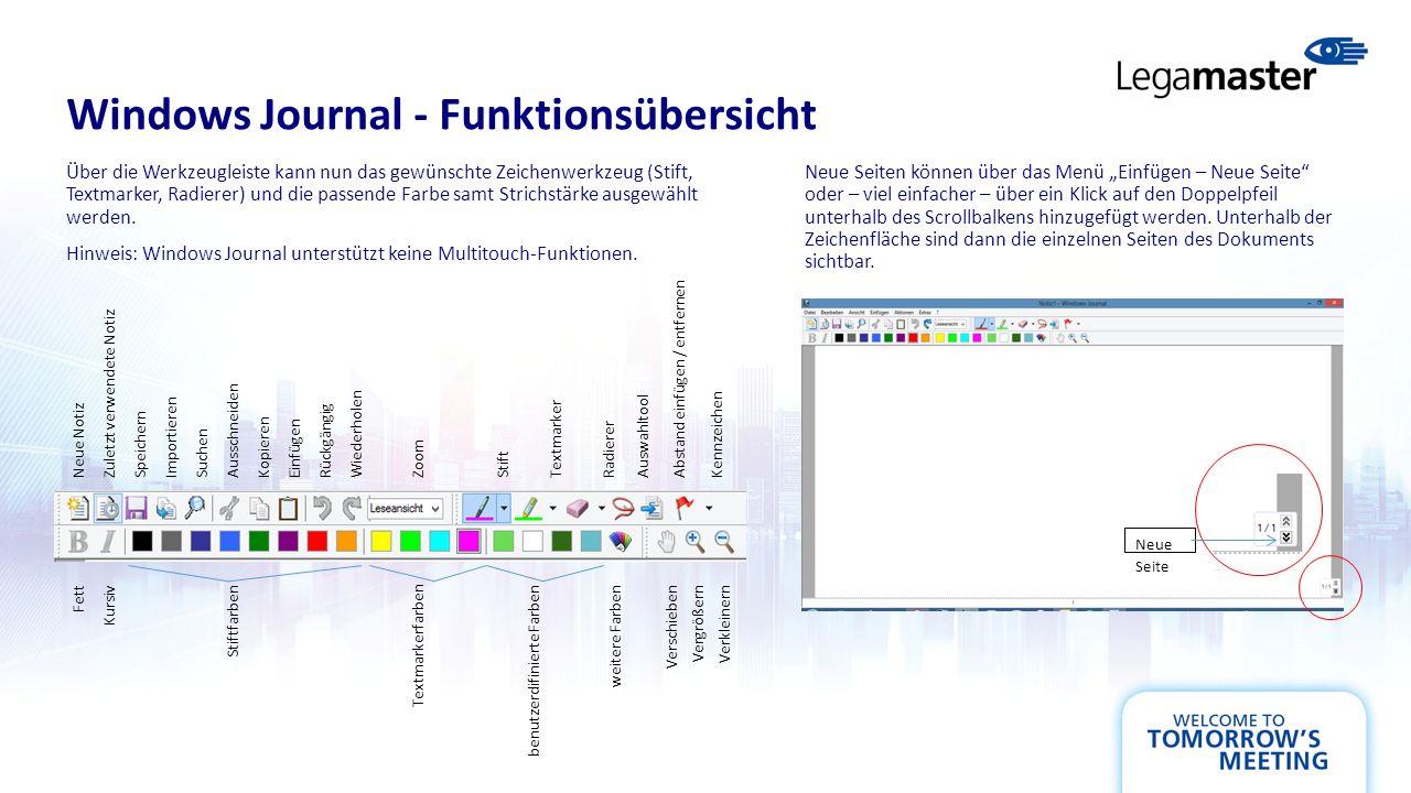 Windows Journal - Funktionsübersicht Über die Werkzeugleiste kann nun das gewünschte Zeichenwerkzeug (Stift, Textmarker, Radierer) und die passende Farbe samt Strichstärke ausgewählt werden.
