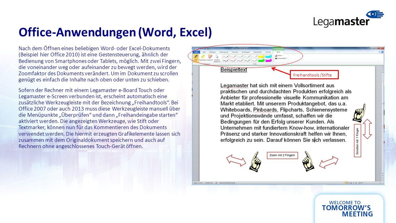 Office-Anwendungen (Word, Excel) Nach dem Öffnen eines beliebigen Word- oder Excel-Dokuments (Beispiel hier Office 2010) ist eine Gestensteuerung, ähnlich der Bedienung von Smartphones oder Tablets, möglich.