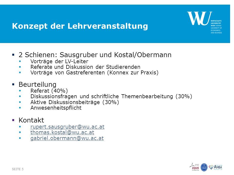Konzept der Lehrveranstaltung  2 Schienen: Sausgruber und Kostal/Obermann  Vorträge der LV-Leiter  Referate und Diskussion der Studierenden  Vorträge von Gastreferenten (Konnex zur Praxis)  Beurteilung  Referat (40%)  Diskussionsfragen und schriftliche Themenbearbeitung (30%)  Aktive Diskussionsbeiträge (30%)  Anwesenheitspflicht  Kontakt  rupert.sausgruber@wu.ac.at rupert.sausgruber@wu.ac.at  thomas.kostal@wu.ac.at thomas.kostal@wu.ac.at  gabriel.obermann@wu.ac.at gabriel.obermann@wu.ac.at SEITE 5