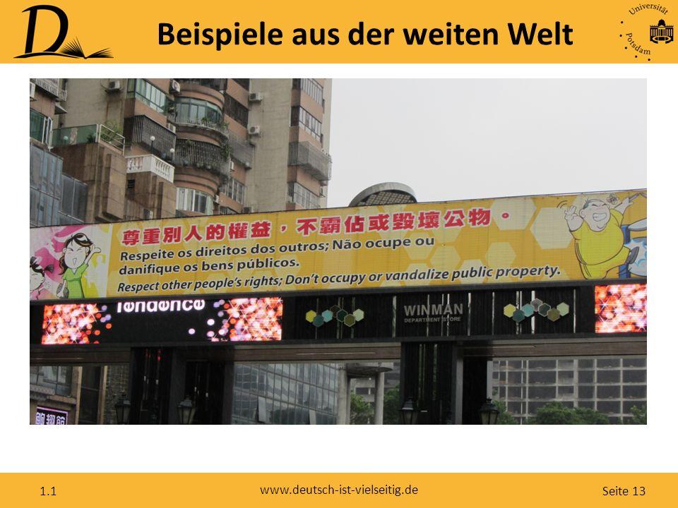 Seite 13 www.deutsch-ist-vielseitig.de 1.1 Beispiele aus der weiten Welt