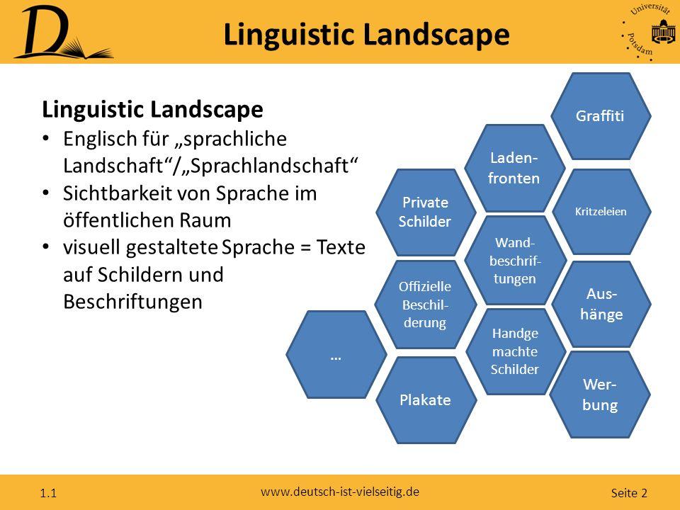"""Seite 2 www.deutsch-ist-vielseitig.de 1.1 Linguistic Landscape Englisch für """"sprachliche Landschaft""""/""""Sprachlandschaft"""" Sichtbarkeit von Sprache im öf"""