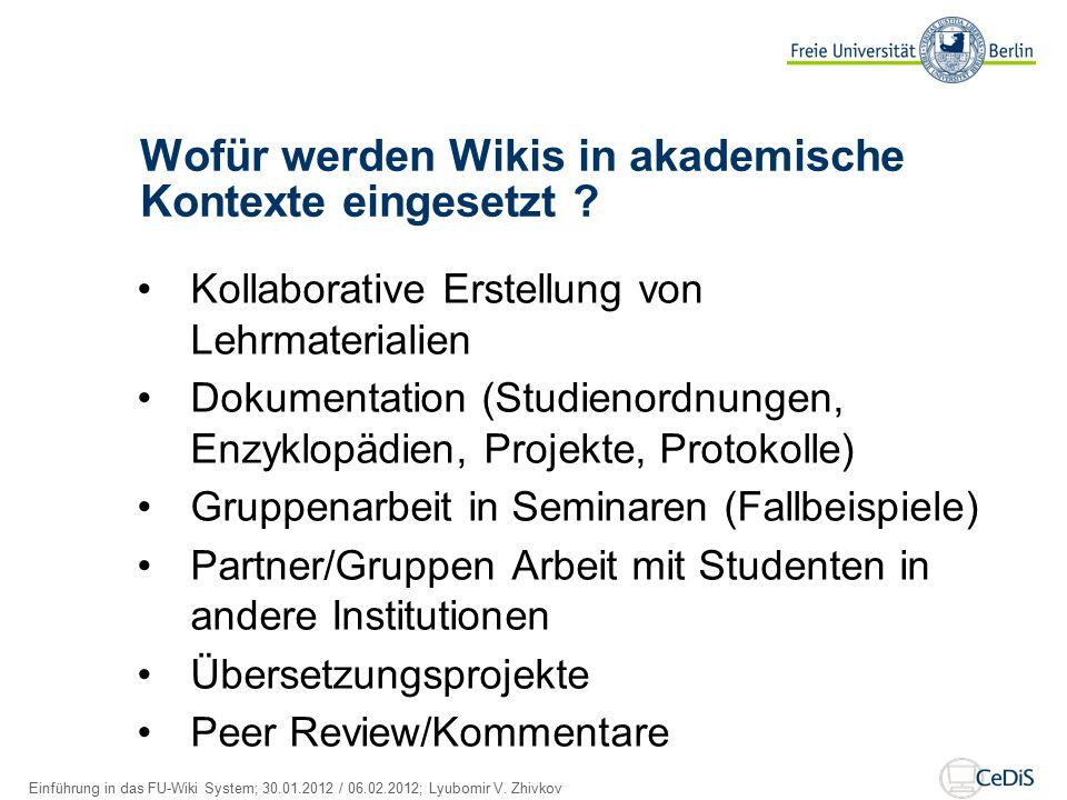 Wofür werden Wikis in akademische Kontexte eingesetzt .