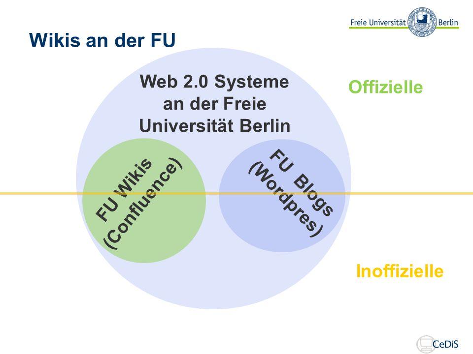 Web 2.0 Systeme an der Freie Universität Berlin FU Wikis (Confluence) FU Blogs (Wordpres) Offizielle Inoffizielle Wikis an der FU