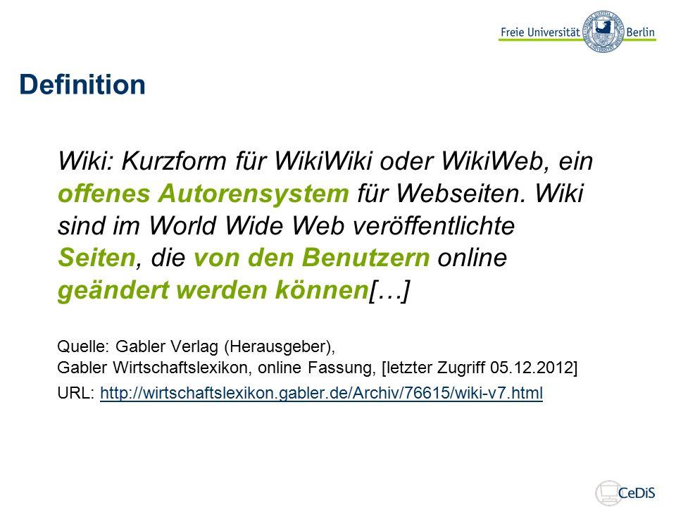 Definition Wiki: Kurzform für WikiWiki oder WikiWeb, ein offenes Autorensystem für Webseiten.