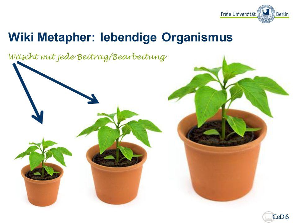 Wiki Metapher: lebendige Organismus Wäscht mit jede Beitrag/Bearbeitung