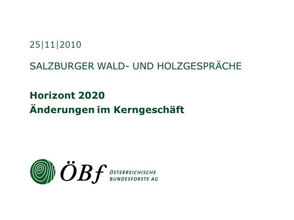 SALZBURGER WALD- UND HOLZGESPRÄCHE Horizont 2020 Änderungen im Kerngeschäft 25|11|2010