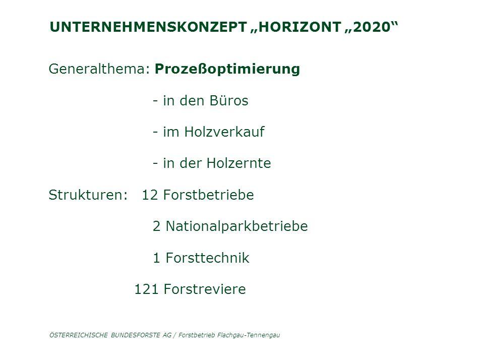 """ÖSTERREICHISCHE BUNDESFORSTE AG / Forstbetrieb Flachgau-Tennengau UNTERNEHMENSKONZEPT """"HORIZONT """"2020 Generalthema: Prozeßoptimierung - in den Büros - im Holzverkauf - in der Holzernte Strukturen: 12 Forstbetriebe 2 Nationalparkbetriebe 1 Forsttechnik 121 Forstreviere"""