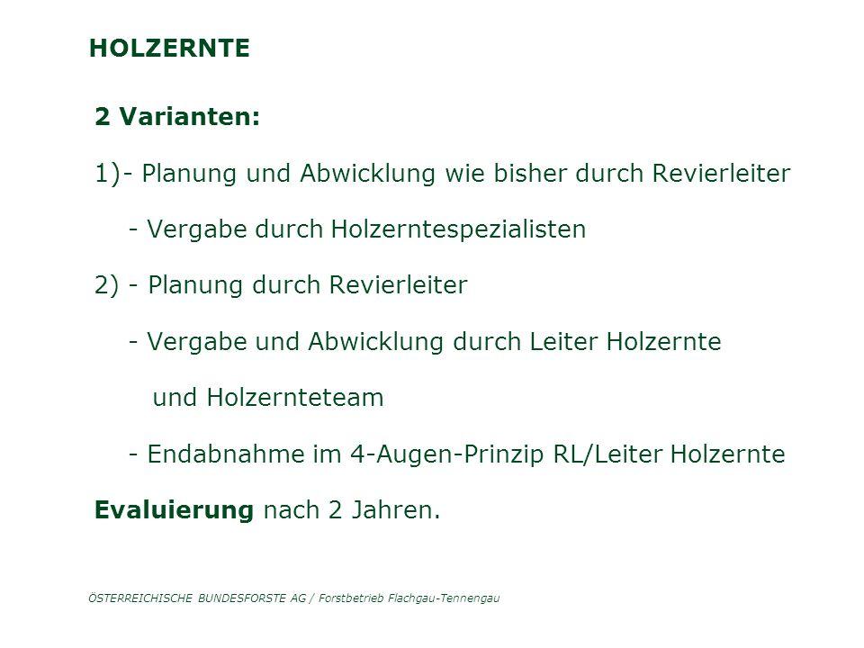 ÖSTERREICHISCHE BUNDESFORSTE AG / Forstbetrieb Flachgau-Tennengau HOLZERNTE 2 Varianten: 1) - Planung und Abwicklung wie bisher durch Revierleiter - V