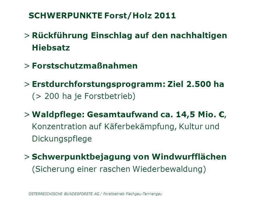 ÖSTERREICHISCHE BUNDESFORSTE AG / Forstbetrieb Flachgau-Tennengau SCHWERPUNKTE Forst/Holz 2011 > Rückführung Einschlag auf den nachhaltigen Hiebsatz > Forstschutzmaßnahmen > Erstdurchforstungsprogramm: Ziel 2.500 ha (> 200 ha je Forstbetrieb) > Waldpflege: Gesamtaufwand ca.