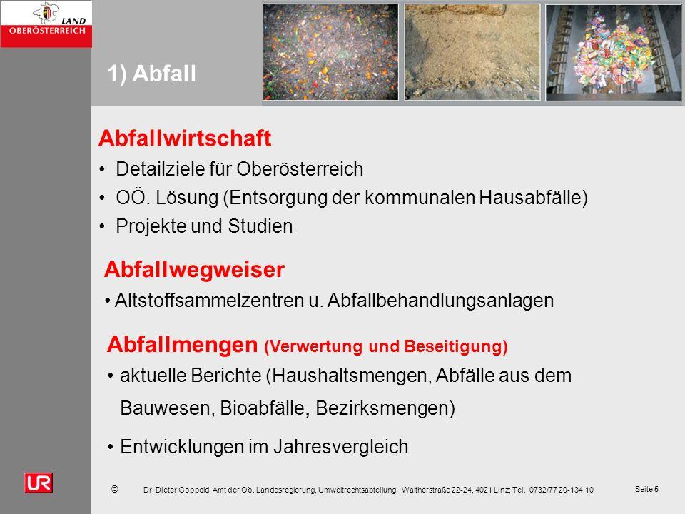 © Dr. Dieter Goppold, Amt der Oö. Landesregierung, Umweltrechtsabteilung, Waltherstraße 22-24, 4021 Linz; Tel.: 0732/77 20-134 10 Seite 5 1) Abfall Ab