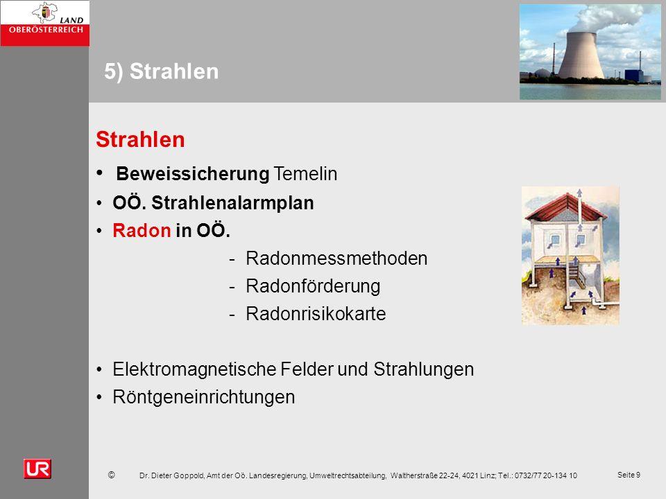 © Dr. Dieter Goppold, Amt der Oö. Landesregierung, Umweltrechtsabteilung, Waltherstraße 22-24, 4021 Linz; Tel.: 0732/77 20-134 10 Seite 9 5) Strahlen