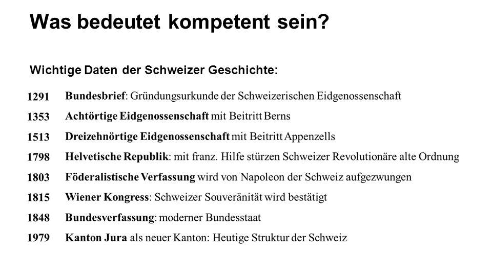 Was bedeutet kompetent sein? Wichtige Daten der Schweizer Geschichte: