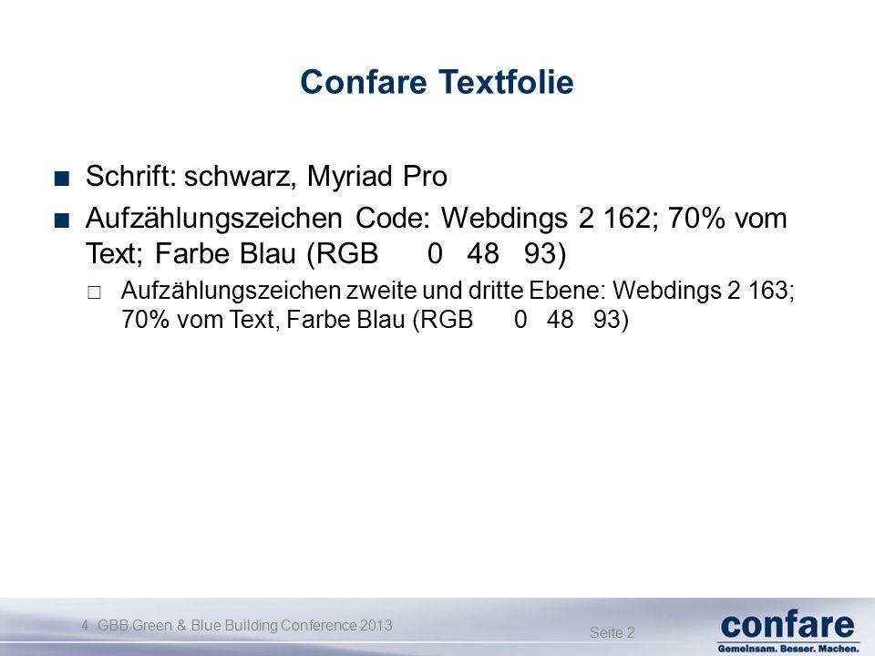 4. GBB Green & Blue Building Conference 2013 Seite 2 Confare Textfolie Schrift: schwarz, Myriad Pro Aufzählungszeichen Code: Webdings 2 162; 70% vom T