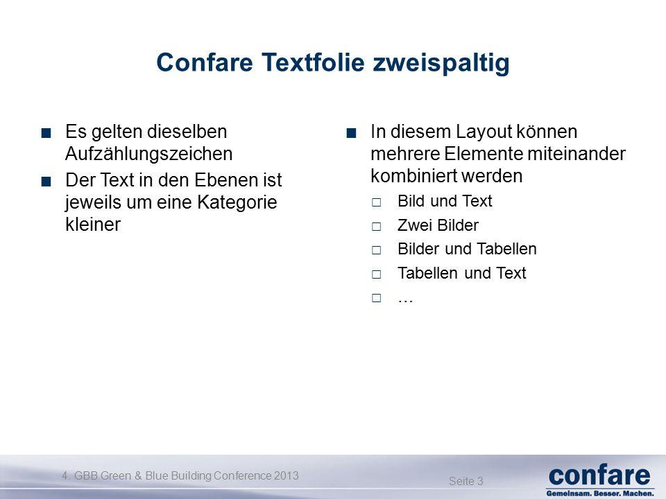 4. GBB Green & Blue Building Conference 2013 Seite 3 Confare Textfolie zweispaltig Es gelten dieselben Aufzählungszeichen Der Text in den Ebenen ist j