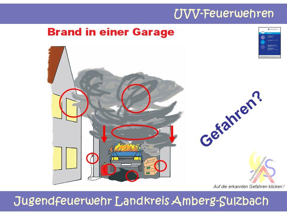 Jugendfeuerwehr Landkreis Amberg-Sulzbach UVV-Feuerwehren Gefahren? Auf die erkannten Gefahren klicken !