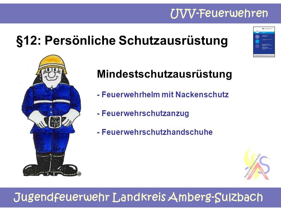 Jugendfeuerwehr Landkreis Amberg-Sulzbach UVV-Feuerwehren §12: Persönliche Schutzausrüstung Mindestschutzausrüstung - Feuerwehrhelm mit Nackenschutz -