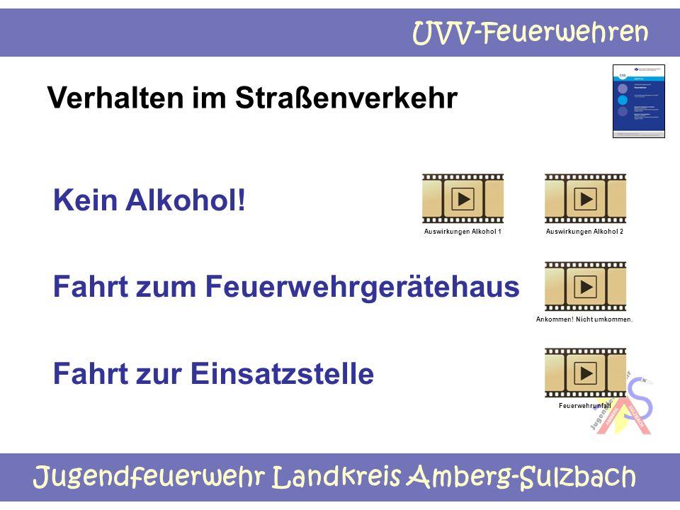 Jugendfeuerwehr Landkreis Amberg-Sulzbach UVV-Feuerwehren Verhalten im Straßenverkehr Kein Alkohol! Fahrt zum Feuerwehrgerätehaus Fahrt zur Einsatzste