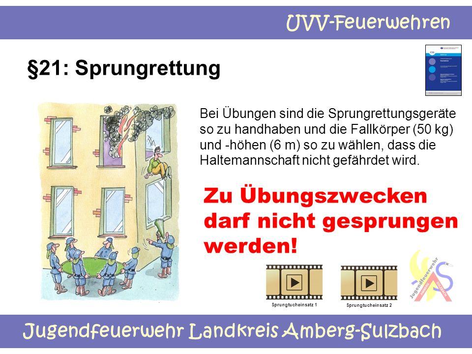 Jugendfeuerwehr Landkreis Amberg-Sulzbach UVV-Feuerwehren §21: Sprungrettung Bei Übungen sind die Sprungrettungsgeräte so zu handhaben und die Fallkör