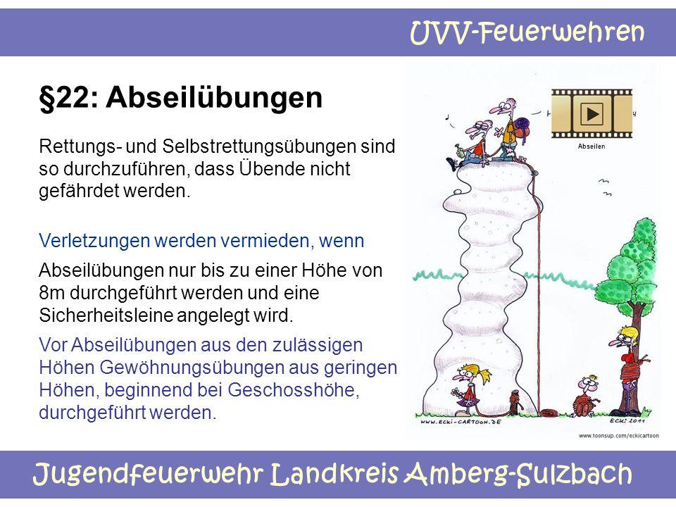 Jugendfeuerwehr Landkreis Amberg-Sulzbach UVV-Feuerwehren §22: Abseilübungen Rettungs- und Selbstrettungsübungen sind so durchzuführen, dass Übende ni