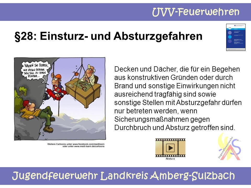 Jugendfeuerwehr Landkreis Amberg-Sulzbach UVV-Feuerwehren §28: Einsturz- und Absturzgefahren Decken und Dächer, die für ein Begehen aus konstruktiven