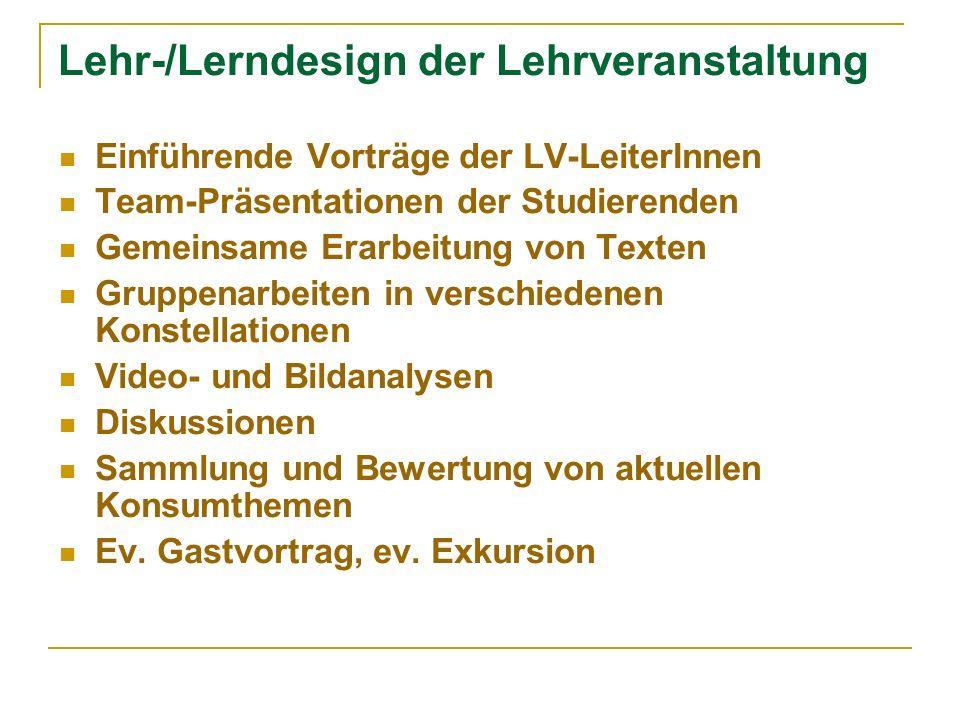 Lehr-/Lerndesign der Lehrveranstaltung Einführende Vorträge der LV-LeiterInnen Team-Präsentationen der Studierenden Gemeinsame Erarbeitung von Texten