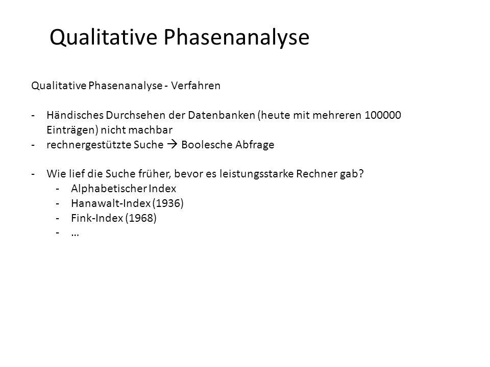 Qualitative Phasenanalyse Qualitative Phasenanalyse - Verfahren -Händisches Durchsehen der Datenbanken (heute mit mehreren 100000 Einträgen) nicht machbar -rechnergestützte Suche  Boolesche Abfrage -Wie lief die Suche früher, bevor es leistungsstarke Rechner gab.