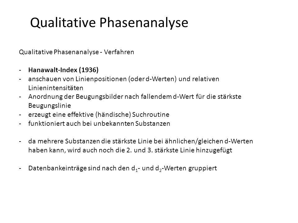 Qualitative Phasenanalyse Qualitative Phasenanalyse - Verfahren -Hanawalt-Index (1936) -anschauen von Linienpositionen (oder d-Werten) und relativen Linienintensitäten -Anordnung der Beugungsbilder nach fallendem d-Wert für die stärkste Beugungslinie -erzeugt eine effektive (händische) Suchroutine -funktioniert auch bei unbekannten Substanzen -da mehrere Substanzen die stärkste Linie bei ähnlichen/gleichen d-Werten haben kann, wird auch noch die 2.