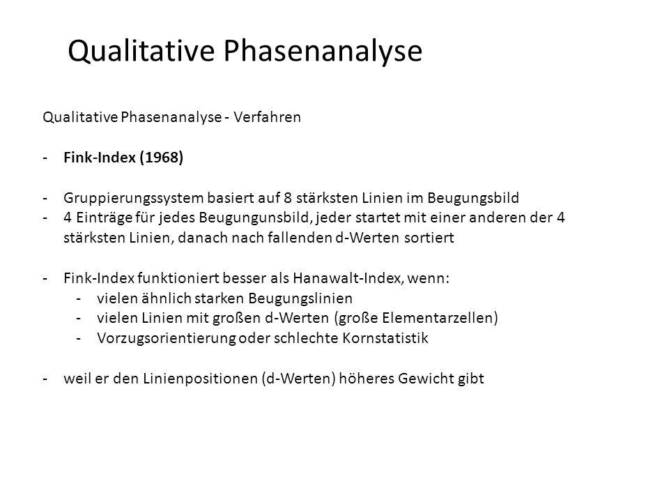 Qualitative Phasenanalyse Qualitative Phasenanalyse - Verfahren -Fink-Index (1968) -Gruppierungssystem basiert auf 8 stärksten Linien im Beugungsbild -4 Einträge für jedes Beugungunsbild, jeder startet mit einer anderen der 4 stärksten Linien, danach nach fallenden d-Werten sortiert -Fink-Index funktioniert besser als Hanawalt-Index, wenn: -vielen ähnlich starken Beugungslinien -vielen Linien mit großen d-Werten (große Elementarzellen) -Vorzugsorientierung oder schlechte Kornstatistik -weil er den Linienpositionen (d-Werten) höheres Gewicht gibt