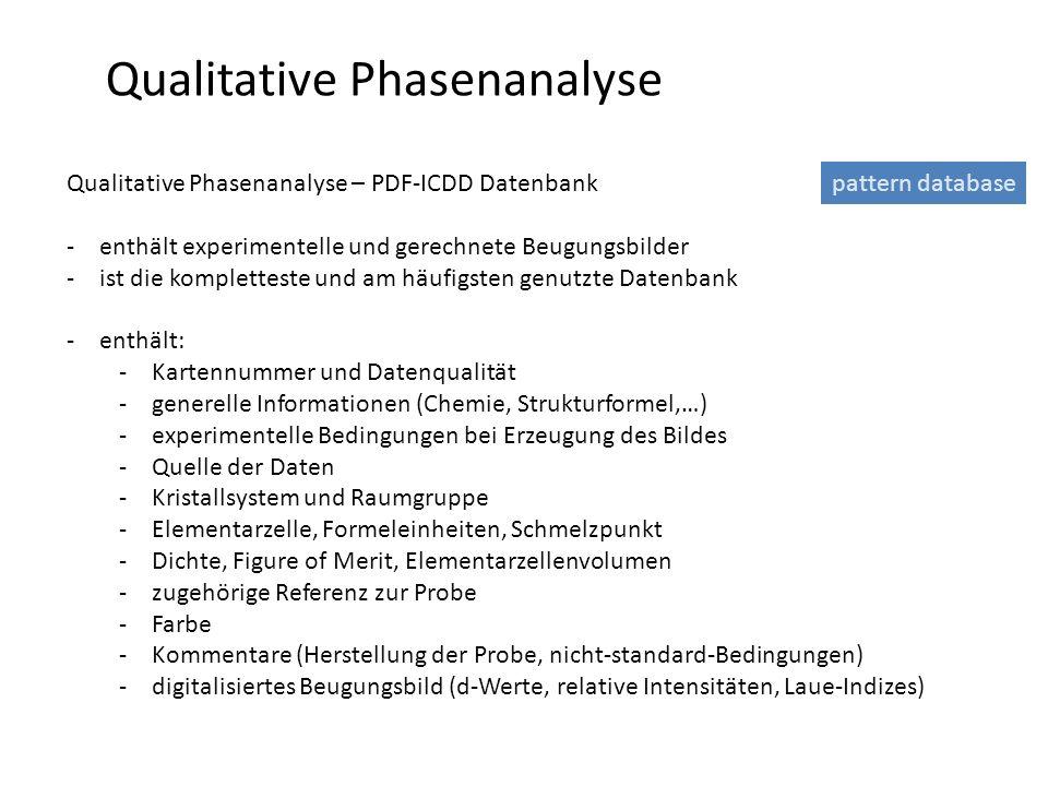 Qualitative Phasenanalyse Qualitative Phasenanalyse – PDF-ICDD Datenbank -enthält experimentelle und gerechnete Beugungsbilder -ist die kompletteste u