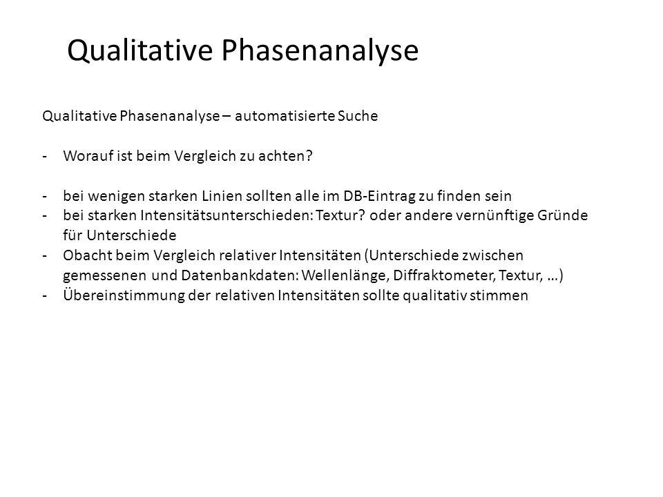 Qualitative Phasenanalyse Qualitative Phasenanalyse – automatisierte Suche -Worauf ist beim Vergleich zu achten? -bei wenigen starken Linien sollten a