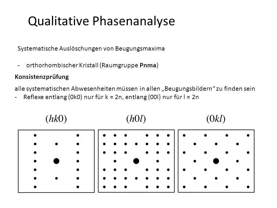 """Qualitative Phasenanalyse Systematische Auslöschungen von Beugungsmaxima -orthorhombischer Kristall (Raumgruppe Pnma) Konsistenzprüfung alle systematischen Abwesenheiten müssen in allen """"Beugungsbildern zu finden sein -Reflexe entlang (0k0) nur für k = 2n, entlang (00l) nur für l = 2n"""