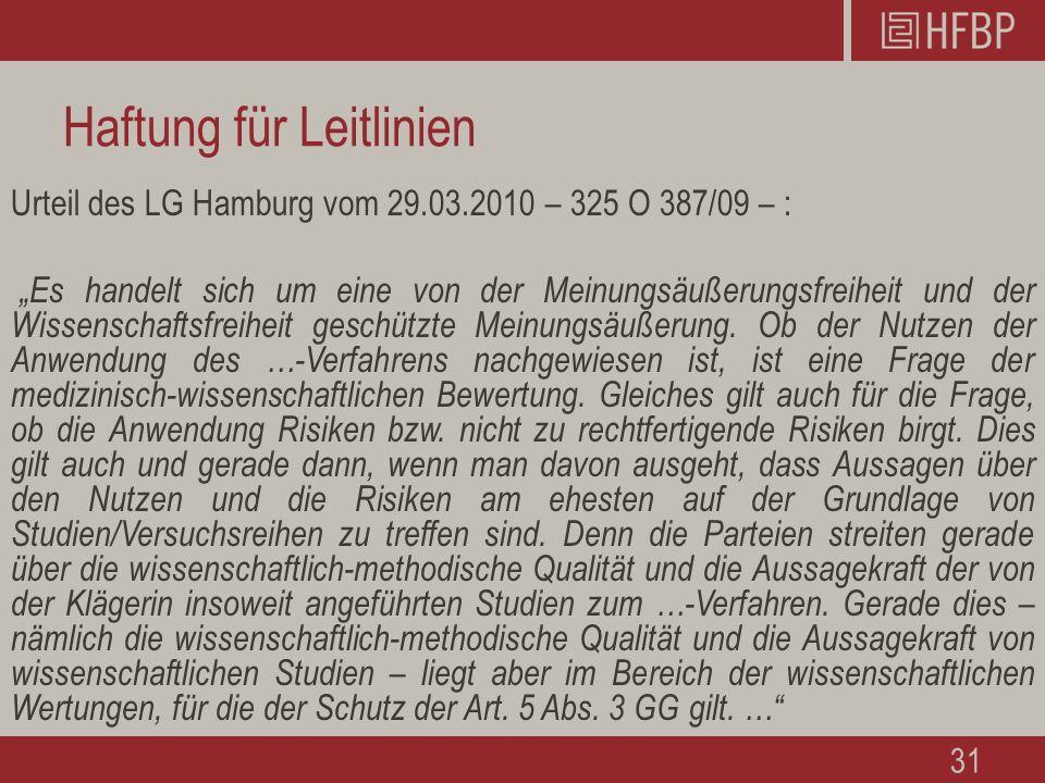"""Haftung für Leitlinien Urteil des LG Hamburg vom 29.03.2010 – 325 O 387/09 – : """"Es handelt sich um eine von der Meinungsäußerungsfreiheit und der Wissenschaftsfreiheit geschützte Meinungsäußerung."""